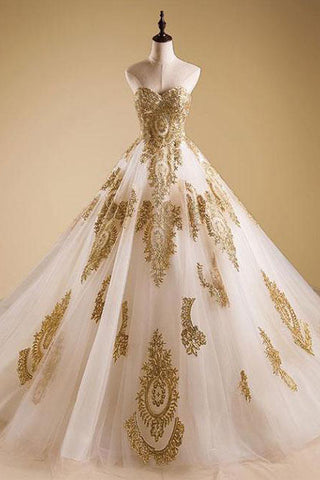 Elegant Gold Neck Tulle Strapless Sweetheart Lace Ball Gown Prom Dress,Quinceanera Dress PH447