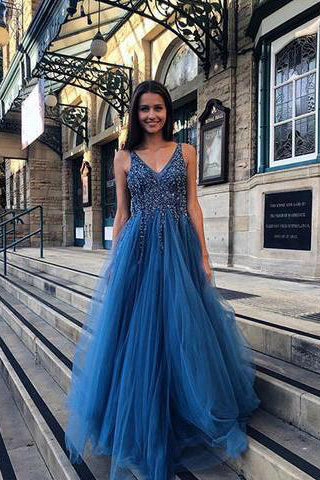 A Line Blue V Neck Beading Tulle Long Vintage Backless Prom Dresses uk PW87