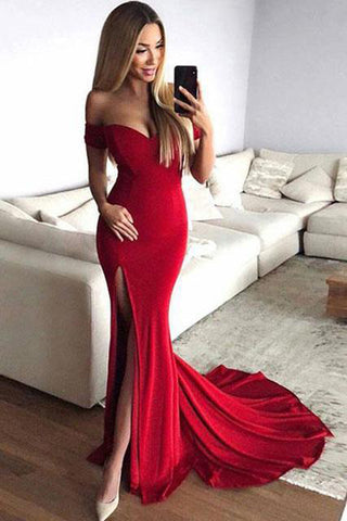 Red Mermaid Off the Shoulder Split Prom Dresses with V Neck, Long Evening Dresses PW907