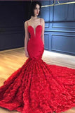 Red Mermaid Prom Dresses Spaghetti Straps V Neck Trumpet Rose Lace Evening Dresses P1044