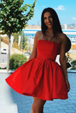 Cute Red Satin Strapless Above Knee Homecoming Dresses with Belt Short Cocktail Dresses H1274