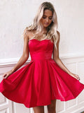 Simple Red Satin Sweetheart Strapless Homecoming Dresses Above Knee Short Prom Dresses H1341