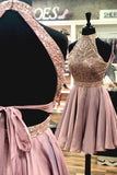 A Line Halter Open Back Chiffon Blush Pink Short Homecoming Dresses uk with Beading PH984