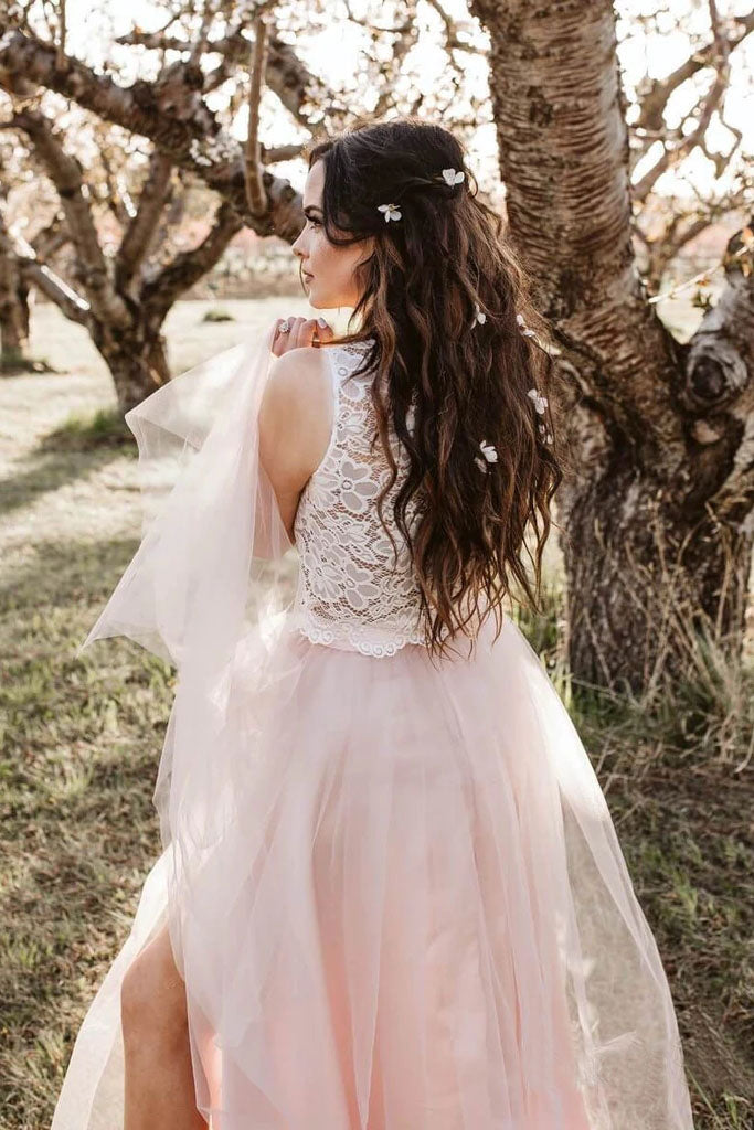 Round Neck Tulle Two Piece Pink Boho Wedding Dresses with Slit Beach Wedding Dress W1094
