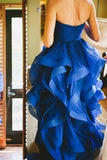 High Low Royal Blue Organza Prom Gowns Strapless Evening Dresses uk For Teens Brides PH158