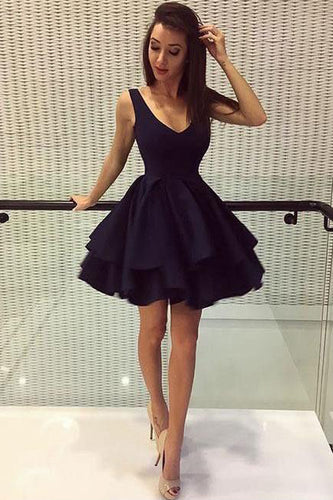 A Line Royal Blue V Neck Above Knee V Back Short Cute Mini Homecoming Dresses uk PH905