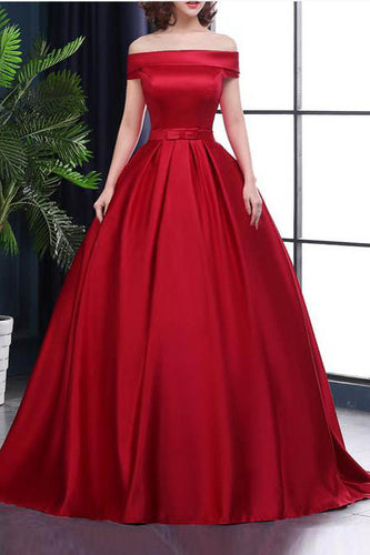 Chic A-Line Off-the-Shoulder Satin Simple Red Sleeveless Lace up Long Prom Dresses uk PH182