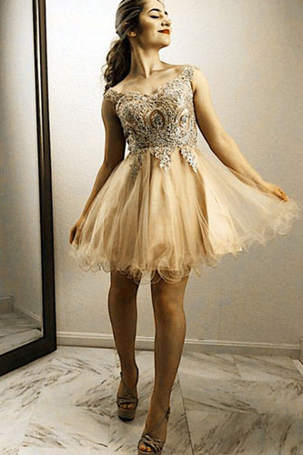 A Line Gold Lace Embroidery Organza Ruffles Off Shoulder Beads Homecoming Dresses PH761
