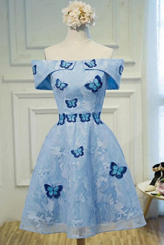 Cute A Line Sky Blue Lace Butterfly Appliques Off the Shoulder Homecoming Dresses uk PH977