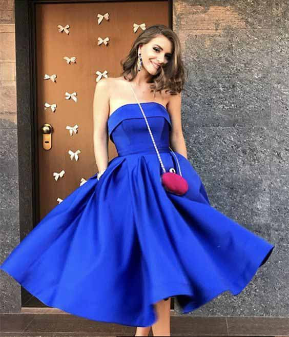 Royal Blue Satin Strapless Ball Gowns Tea Length Short Prom Dress ...