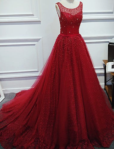 Luxurious A-Line Round Neck Red Long Prom Dress with Pearl