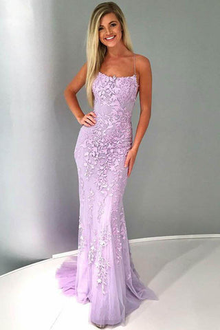 Sexy Mermaid Spaghetti Straps Lilac Tulle Lace Prom Evening Dresses uk with Appliques PW73