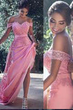 Pink Sheath Off-the-Shoulder Sweep Train Prom Dress with Lace Sash Ruffles PM779