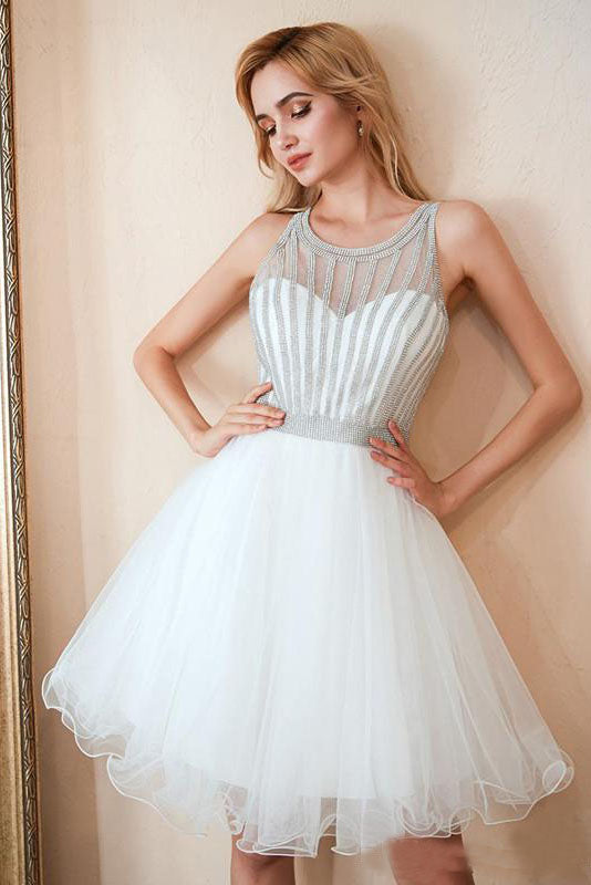 Scoop A Line White Homecoming Dresses, Sequins Above Knee Tulle Short Prom Dresses H1100