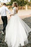 See Through Half Sleeve Ivory Country Wedding Dresses Backless Tulle Wedding Dress W1073