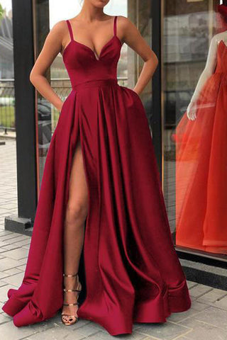 Sexy Burgundy Spaghetti Straps V Neck Satin Prom Dresses with Split Pockets PW649