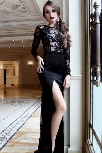 Sexy Mermaid Black Long Sleeve High Slit Prom Dresses, Lace Satin Party Dresses PW357