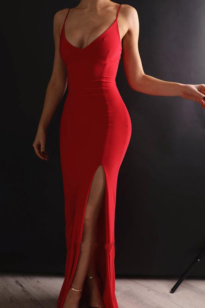 Sexy Mermaid Spaghetti Straps V Neck Red Side Slit Satin Long Prom Dresses PW574