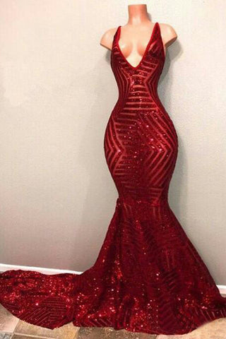 Sexy Red Mermaid Sequins Deep V Neck Prom Dresses, Long Evening Dresses PW908