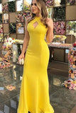 Sexy Sheath Halter Floor Length Ruffles Satin Prom Dresses, Yellow Long Formal Dresses P1086