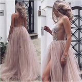 Sexy Slit Beading Tulle Backless V Neck Long Evening Dresses, Sleeveless Party Dresses PW929
