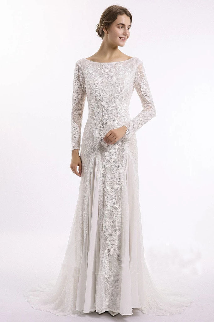 Sheath Long Sleeve Ivory Lace Wedding Dresses See Through Backless Boho Bridal Dresses W1063