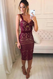 Sheath Spaghetti Straps V Neck Burgundy Knee Length Homecoming Dresses, Bridesmaid Dress P1084
