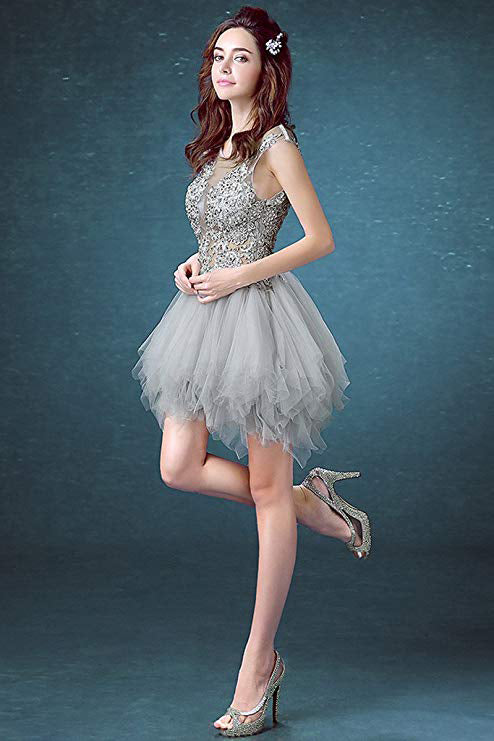Short Sexy See Through Lace Tulle Gray Homecoming Dresses with Sequins, Party Dresses H1147