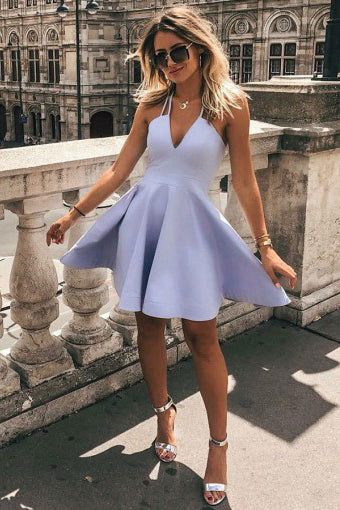 Simple A-Line V Neck Sleeveless Short Lavender Satin Homecoming Dress H1262