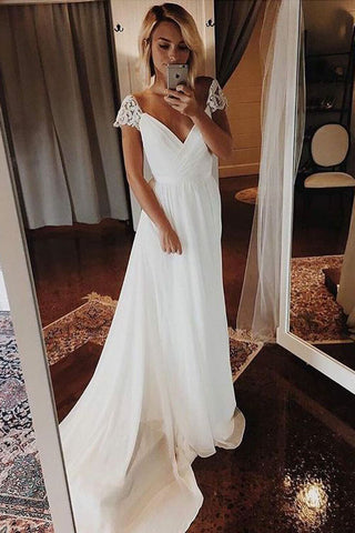 Simple A Line Chiffon Wedding Dresses Cap Sleeve V Neck Bohemian Beach Bridal Gowns W1038
