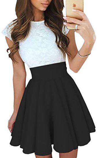 Simple A Line Lace White and Black Homecoming Dresses with Satin, Above Knee Cocktail Dress H1078