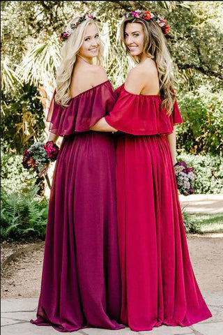 Simple A line Chiffon Red Off the Shoulder Flowy Bridesmaid Dresses, Prom Dresses PW806