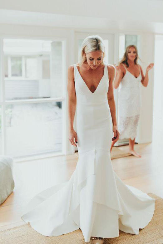 Simple Deep V Neck Sweep Train Mermaid Satin Wedding Dress, Long Bridal Gowns PW996