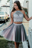 Simple Grey Two Pieces Knee Length Beads Halter Tulle Homecoming Dresses with Appliques H1124