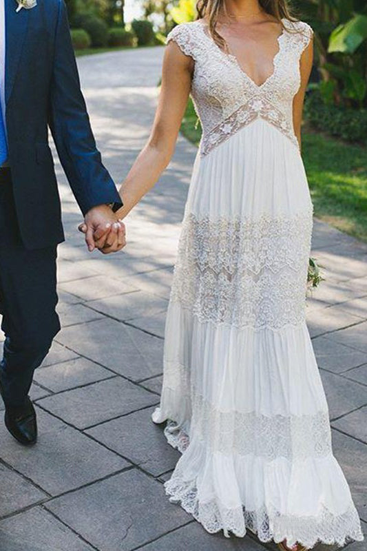 Simple Lace V Neck Ruched Short Sleeves White Floor Length Wedding Dresses PW583