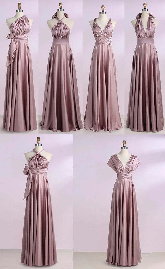 Simple New Arrival Backless Satin Long Bridesmaid Dresses, Evening Party Dresses BD1008