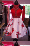 Simple Red Crystal Beaded Halter Short Floral Print Homecoming Dresses, Cocktail Dresses H1115