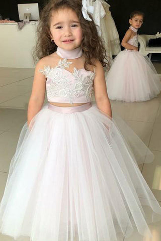 270319765 Simple Two Piece Ball Gown Halter Blush Pink Flower Girl Dresses with  Appliques PW881