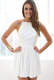 Simple White Spaghetti Straps Prom Dress Open Back Evening Dress Homecoming Dress H1081
