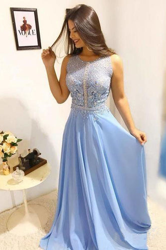 Sky Blue Long Scoop Chiffon Formal Dresses, Long Beads Sleeveless Prom Dresses PW434
