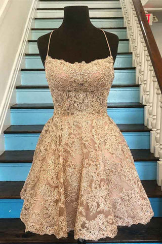 Spaghetti Strap Vintage Gold Lace Applique Criss Cross Short Homecoming Dresses PW765