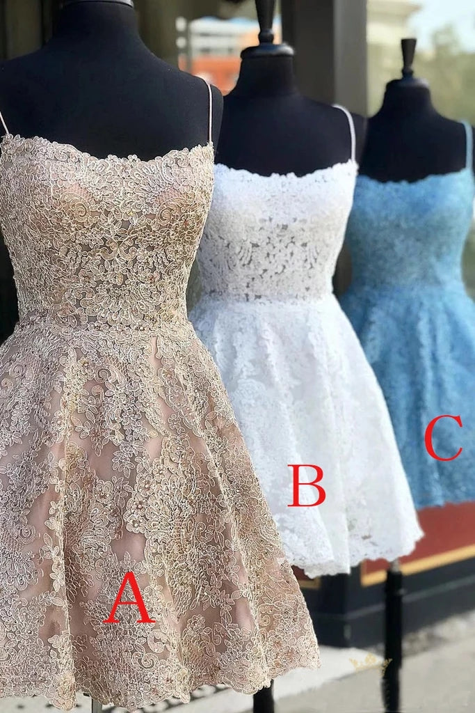 Spaghetti Straps Backless Lace Homecoming Dress, Short Lace Graduation Dresses H1213