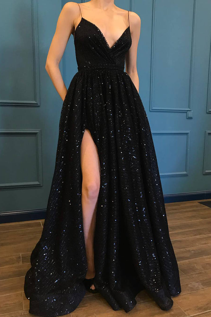 A Line Spaghetti Straps Black Sparkle Long Prom Dresses with Pockets V Neck Sequins Slit PW475