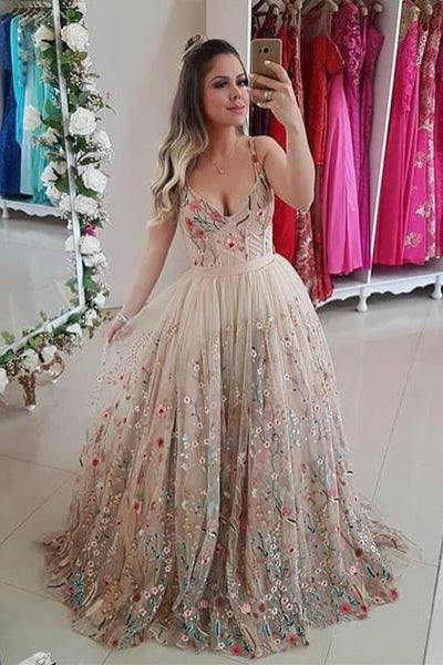 346db5f2d94 Spaghetti Straps Floral Embroidery Sweetheart Prom Dresses Long Formal Dress  uk PW442