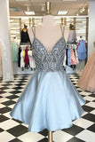 Spaghetti Straps V Neck Above Knee Grey Satin Homecoming Dress with Beads Pockets H1301
