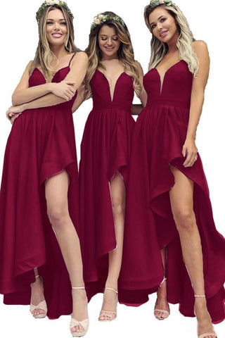 Spaghetti Straps V Neck High Slit Burgundy Satin Bridesmaid Dresses, Bridesmaid Gowns BD1003
