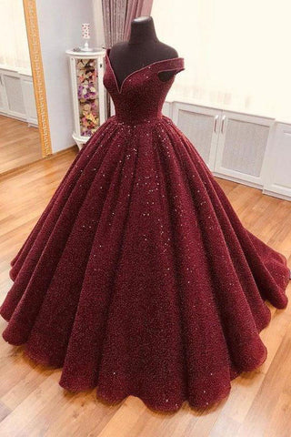 Sparkle Ball Gown V Neck Burgundy Off the Shoulder Prom Dress, Quinceanera Dresses P1037
