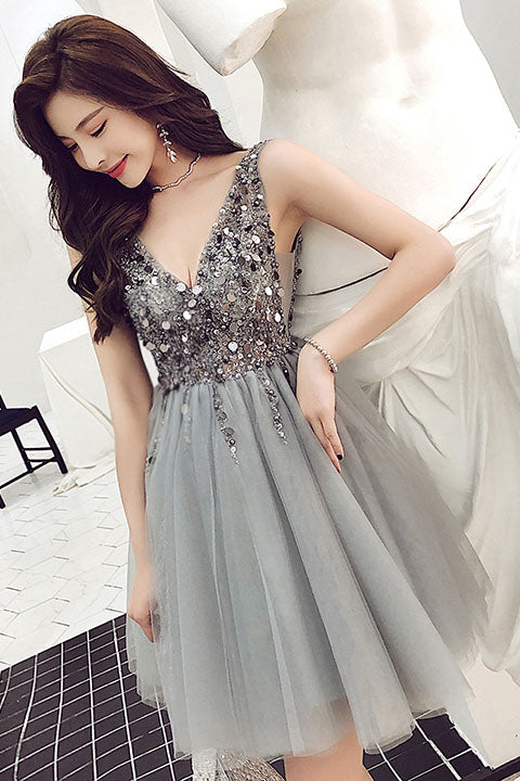 Sparkle Short Grey Sequins Party Dress, V Neck Tulle Backless Homecoming Dresses H1141