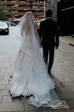 Strapless Beads Tulle Ivory Wedding Dresses, V Neck Lace Appliques Beach Wedding Gowns W1043