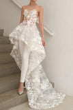 Strapless High Low Lace Appliques Ivory Beach Wedding Dresses Boho Wedding Gowns W1074